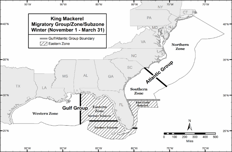 King mackerel trip limit to remain at 50 fish per day for for Florida commercial fishing license